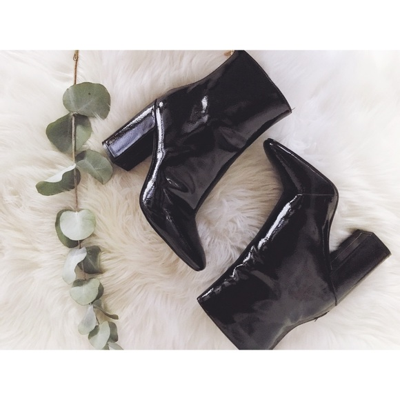 "Jessica Simpson Patent leather 4"" ankle boots"